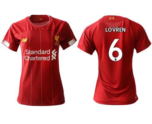 Women's Liverpool #6 Lovren Red Home Soccer Club Jersey