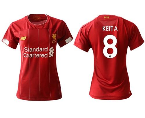 Women's Liverpool #8 Keita Red Home Soccer Club Jersey
