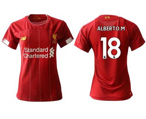 Women's Liverpool #18 Alberto M. Red Home Soccer Club Jersey
