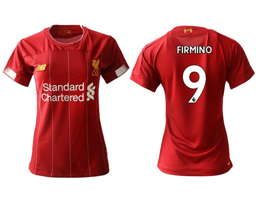 Women's Liverpool #9 Firmino Red Home Soccer Club Jersey