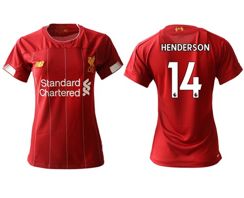 Women's Liverpool #14 Henderson Red Home Soccer Club Jersey