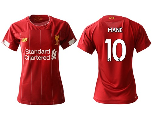 Women's Liverpool #10 Mane Red Home Soccer Club Jersey
