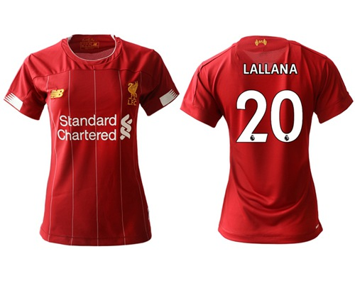 Women's Liverpool #20 Lallana Red Home Soccer Club Jersey