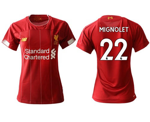 Women's Liverpool #22 Mignolet Red Home Soccer Club Jersey