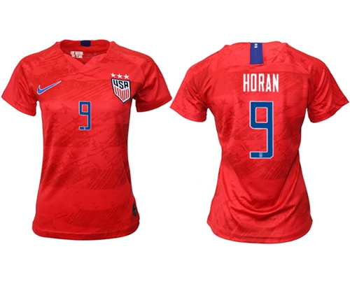 Women's USA #9 Horan Away Soccer Country Jersey