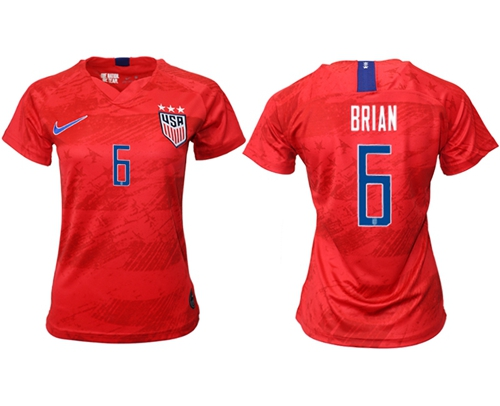 Women's USA #6 Brian Away Soccer Country Jersey