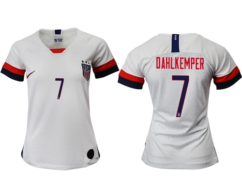 Women's USA #7 Dahlkemper Home Soccer Country Jersey