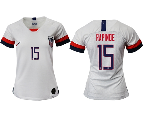 Women's USA #15 Rapinoe Home Soccer Country Jersey