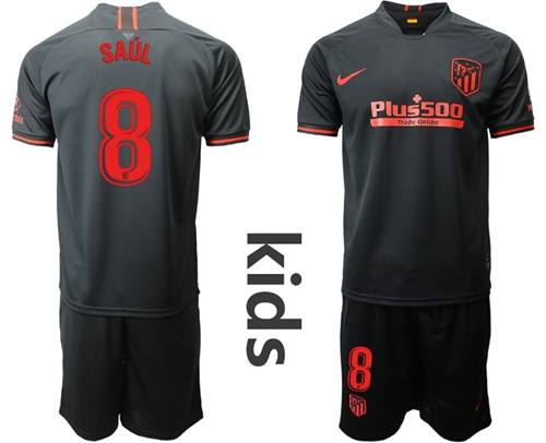 Atletico Madrid #8 Saul Away Kid Soccer Club Jersey
