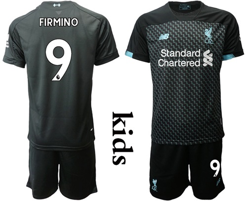 Liverpool #9 Firmino Third Kid Soccer Club Jersey