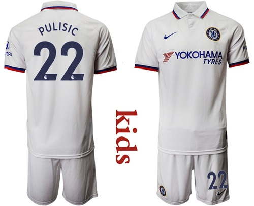 Chelsea #22 Pulisic Away Kid Soccer Club Jersey