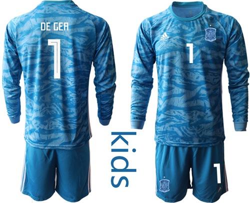 Spain #1 De Gea Blue Long Sleeves Goalkeeper Kid Soccer Country Jersey