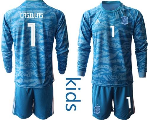 Spain #1 Casillas Blue Long Sleeves Goalkeeper Kid Soccer Country Jersey