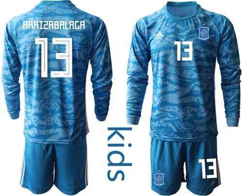 Spain #13 Arrizabalaga Blue Long Sleeves Goalkeeper Kid Soccer Country Jersey