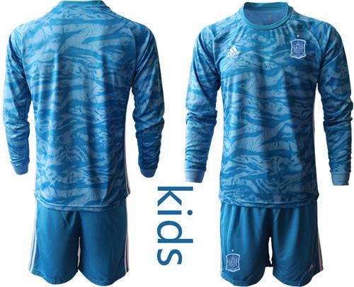 Spain Blank Blue Long Sleeves Goalkeeper Kid Soccer Country Jersey