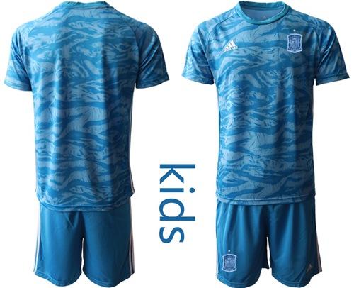 Spain Blank Blue Goalkeeper Kid Soccer Country Jersey