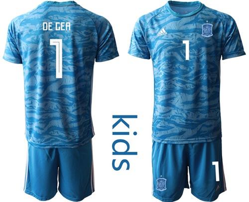 Spain #1 De Gea Blue Goalkeeper Kid Soccer Country Jersey