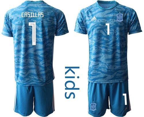 Spain #1 Casillas Blue Goalkeeper Kid Soccer Country Jersey