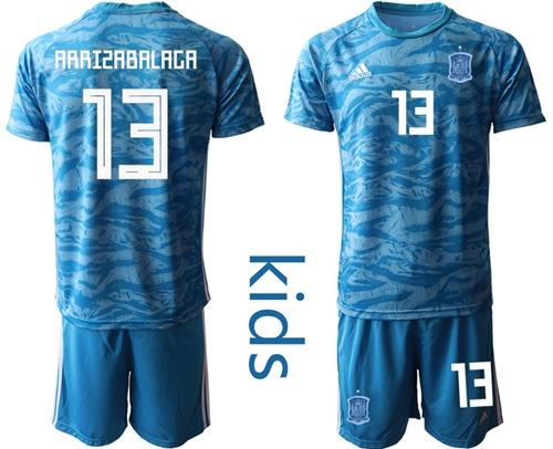Spain #13 Arrizabalaga Blue Goalkeeper Kid Soccer Country Jersey