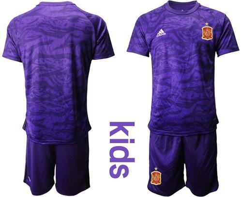 Spain Blank Purple Goalkeeper Kid Soccer Country Jersey