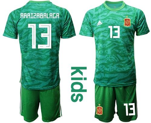 Spain #13 Arrizabalaga Green Goalkeeper Kid Soccer Country Jersey