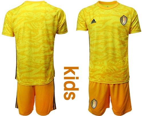 Belgium Blank Yellow Goalkeeper Kid Soccer Country Jersey