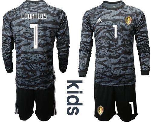 Belgium #1 Courtois Black Goalkeeper Long Sleeves Kid Soccer Country Jersey