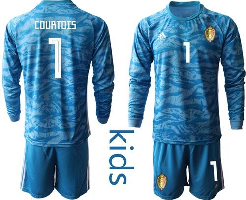 Belgium #1 Courtois Blue Goalkeeper Long Sleeves Kid Soccer Country Jersey