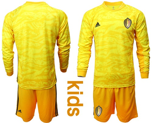 Belgium Blank Yellow Goalkeeper Long Sleeves Kid Soccer Country Jersey