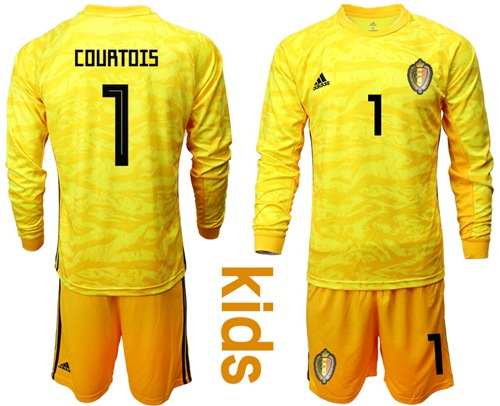 Belgium #1 Courtois Yellow Goalkeeper Long Sleeves Kid Soccer Country Jersey