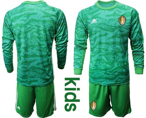 Belgium Blank Green Goalkeeper Long Sleeves Kid Soccer Country Jersey