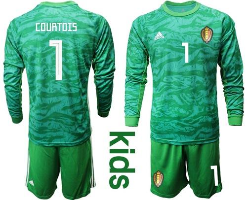Belgium #1 Courtois Green Goalkeeper Long Sleeves Kid Soccer Country Jersey