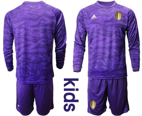 Belgium Blank Purple Goalkeeper Long Sleeves Kid Soccer Country Jersey