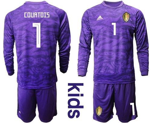 Belgium #1 Courtois Purple Goalkeeper Long Sleeves Kid Soccer Country Jersey