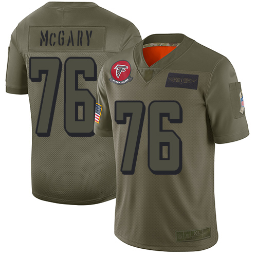 Nike Falcons #76 Kaleb McGary Camo Youth Stitched NFL Limited 2019 Salute to Service Jersey