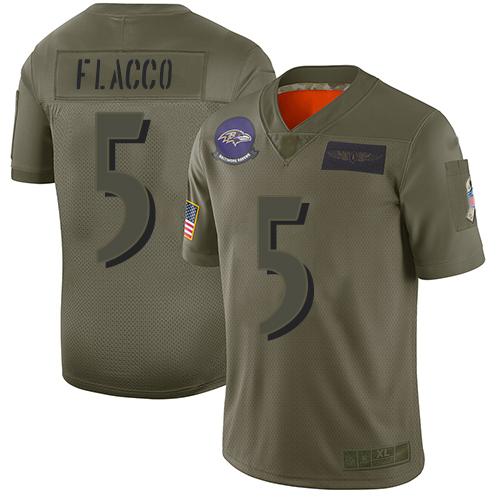 Nike Ravens #5 Joe Flacco Camo Youth Stitched NFL Limited 2019 Salute to Service Jersey