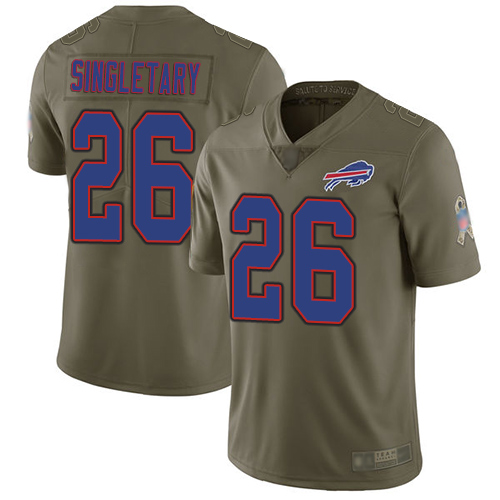 Nike Bills #26 Devin Singletary Olive Youth Stitched NFL Limited 2017 Salute to Service Jersey