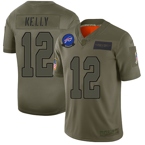 Nike Bills #12 Jim Kelly Camo Youth Stitched NFL Limited 2019 Salute to Service Jersey