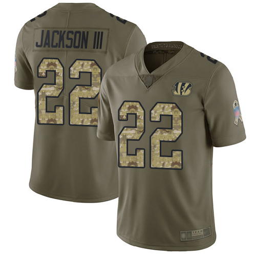 Nike Bengals #22 William Jackson III Olive/Camo Youth Stitched NFL Limited 2017 Salute to Service Jersey