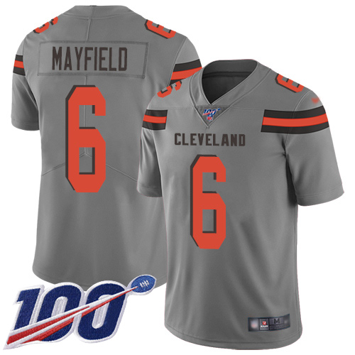Nike Browns #6 Baker Mayfield Gray Youth Stitched NFL Limited Inverted Legend 100th Season Jersey