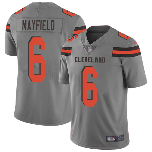 Nike Browns #6 Baker Mayfield Gray Youth Stitched NFL Limited Inverted Legend Jersey