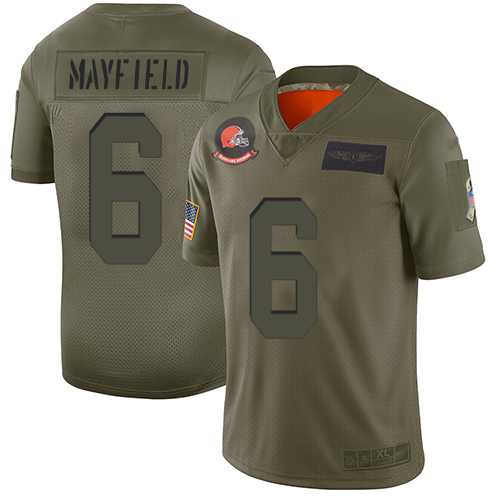 Nike Browns #6 Baker Mayfield Camo Youth Stitched NFL Limited 2019 Salute to Service Jersey
