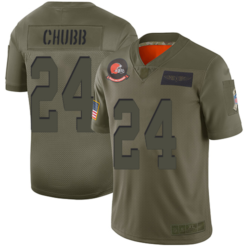 Nike Browns #24 Nick Chubb Camo Youth Stitched NFL Limited 2019 Salute to Service Jersey