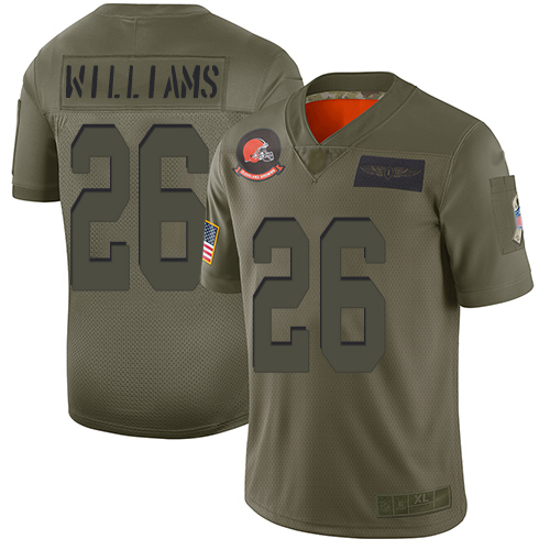 Nike Browns #26 Greedy Williams Camo Youth Stitched NFL Limited 2019 Salute to Service Jersey