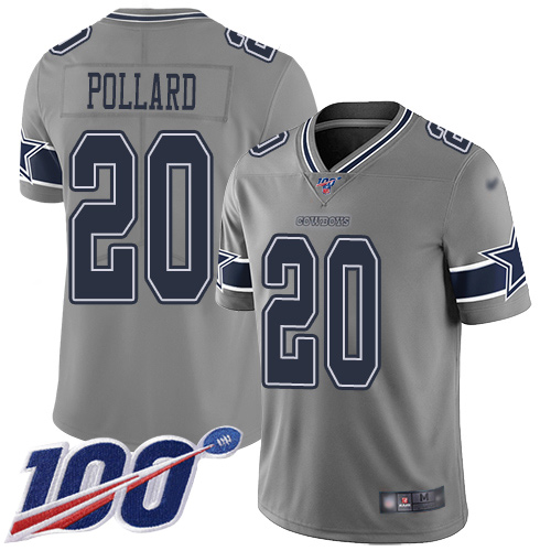 Nike Cowboys #20 Tony Pollard Gray Youth Stitched NFL Limited Inverted Legend 100th Season Jersey