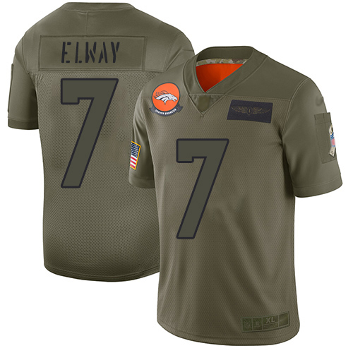 Nike Broncos #7 John Elway Camo Youth Stitched NFL Limited 2019 Salute to Service Jersey