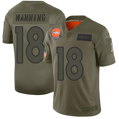 Nike Broncos #18 Peyton Manning Camo Youth Stitched NFL Limited 2019 Salute to Service Jersey