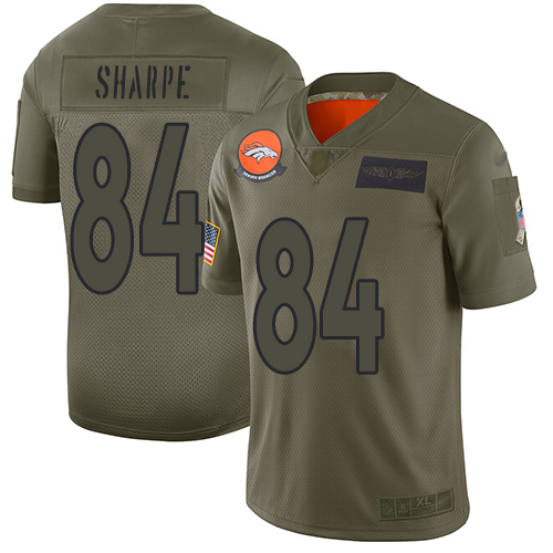 Nike Broncos #84 Shannon Sharpe Camo Youth Stitched NFL Limited 2019 Salute to Service Jersey
