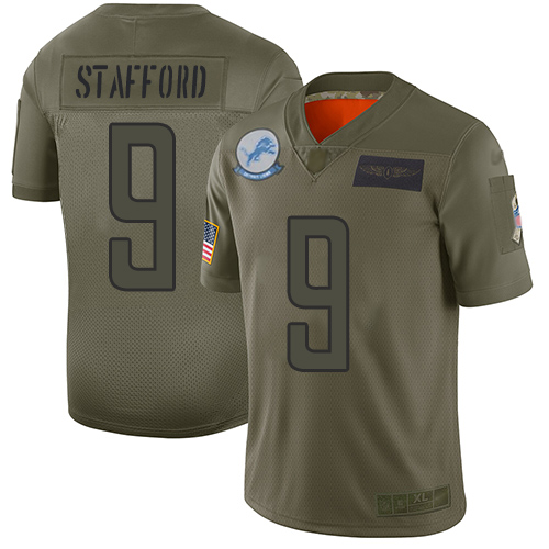 Nike Lions #9 Matthew Stafford Camo Youth Stitched NFL Limited 2019 Salute to Service Jersey