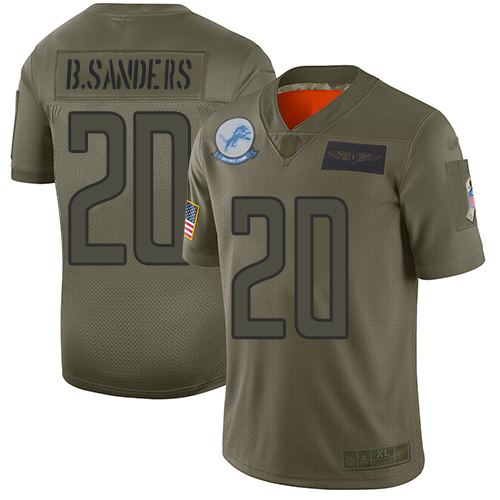 Nike Lions #20 Barry Sanders Camo Youth Stitched NFL Limited 2019 Salute to Service Jersey